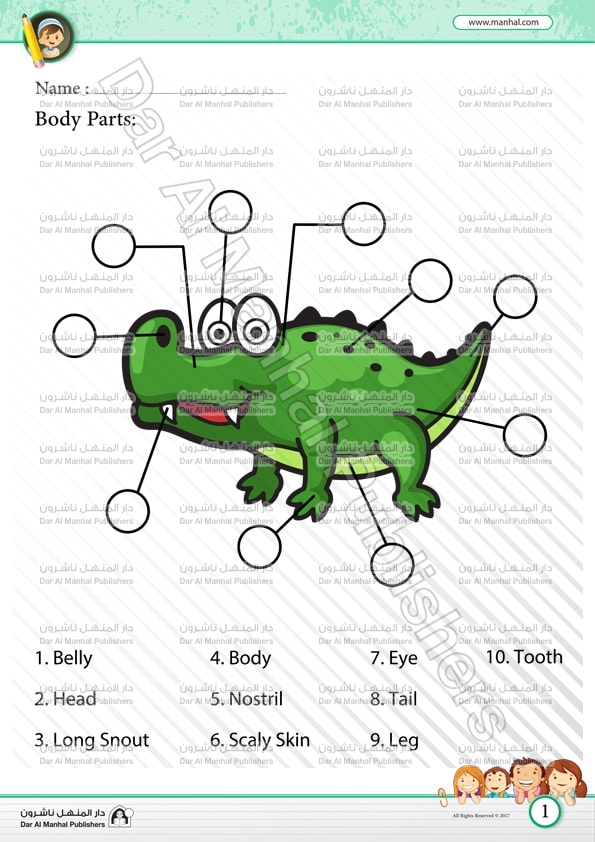 Body Parts Crocodile Science Worksheets