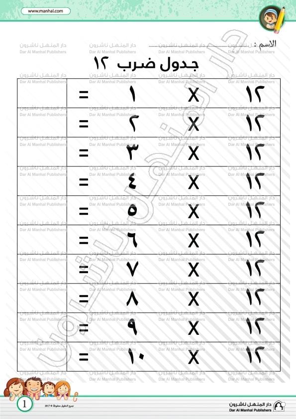 جدول ضرب 12 الرياضيات اوراق عمل